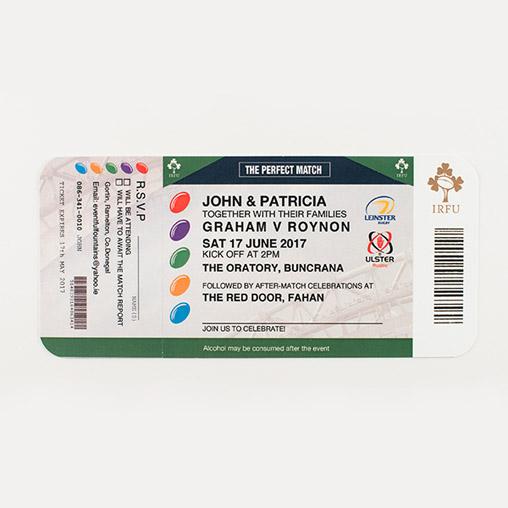 Rugby Ticket Personalised Wedding Invitation